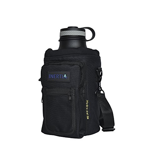 Inertia Gear Hydro Flask 64 oz Water Bottle Holder Carrier w/ Pockets worn as a Sling or Backpack for Large Bottles - Black (Water Jug Carrier compare prices)