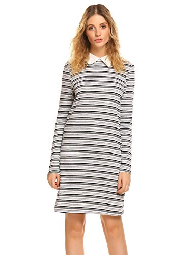 (BEAUTYTALK T-Shirt Dresses Womens Peter Pan Collar Stylish Stripes A-line Dress,Black,XX-Large)