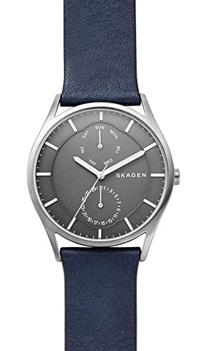 Skagen Men's Holst Quartz Titanium and Leather Casual Watch, Color: Silver-Tone, Blue (Model: SKW6448)