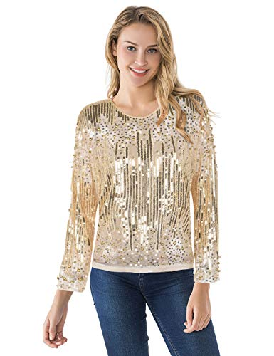 PrettyGuide Women's Sequin Blouse See Through Party Tops Beaded Sparkly Shirts XL Gold -