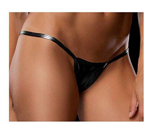 9026ceb5d1 Galleon - 2017 Women Sexy Metallic G-string Micro Thong Sexy Solid T-back V-string  Underwear Bikini Shorts Ladies Sexy Panties Tangas Briefs (Black)