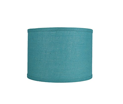 Urbanest Classic Drum Burlap Lampshade, 14-inch by 14-inch by 10-inch, (Spa Blue Lamp Shade)
