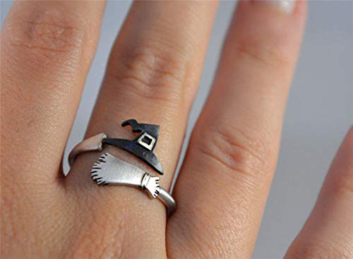 BAIBUE BUESAWAN Cute Halloween Ghost Witch Broom Finger Ring Open Rings Party Cosplay Jewelry]()