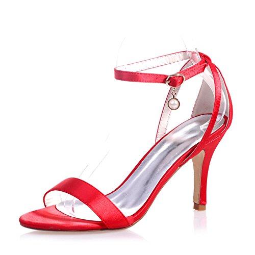 9920 amp; Chaussures Toe Femmes De Nuit YC Occasionnel Et Hauts Nuit Mariage Peep 04 red Talons Satin L 0q57wzx