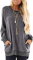 GADEWAKE Womens Casual Color Block Long Sleeve Round Neck Pocket T Shirts Blouses Sweatshirts Tops Dark Grey