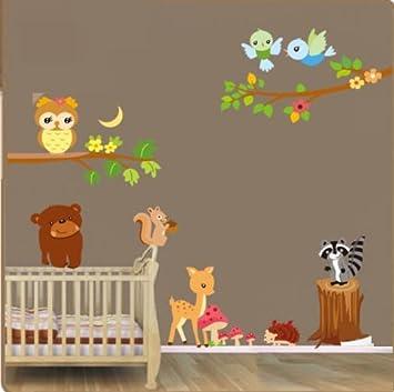 Wunderbar Waldtiere Wandaufkleber. Schöne Tiere Wandtattoo. Aufkleber Für Ein  Kinderzimmer. Fototapete Art Deco.