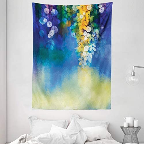 Ambesonne Watercolor Flowers Decor Collection, Spring Flowers Leaves Seasonal Nature Watercolor Painting, Bedroom Living Kids Girls Boys Room Dorm Accessories Wall Hanging Tapestry, Navy Blue Orange