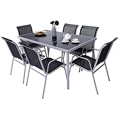 7 PCS. Steel Table Chairs Dining Set Patio Glass Table Top Outdoor Furniture Allblessings