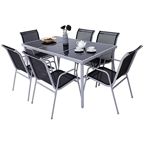 7 PCS. Steel Table Chairs Dining Set Patio Glass Table Top Outdoor Furniture Allblessings (Wrought Century Mid Furniture Iron Patio)