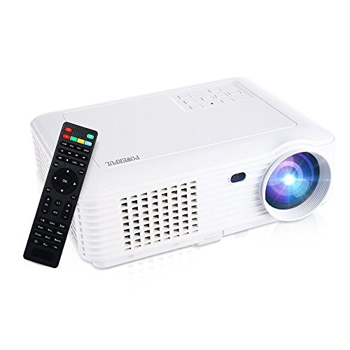 HD 1080P Home Projector, GBTIGER 4000 Lumens 1280x800P Full HD Multimedia LCD Projector Home Theater for Home Cinema /Video Games /Movie Night Up to 150 inch Screen(White)