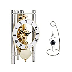 Qwirly 2-Item Bundle: Lakin Mechanical Skeleton Table Clock by Hermle 23023X40721 and Desktop Rotating Spinner - Room Decor Set for Birthday, Holidays and a Great for Any Occasion - Silver/Gold