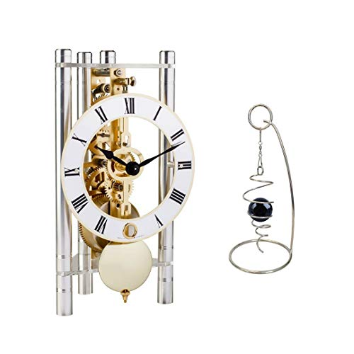 Qwirly 2-Item Bundle: Lakin Mechanical Skeleton Table Clock by Hermle 23023X40721 and Desktop Rotating Spinner - Room Decor Set for Birthday, Holidays and a Great for Any Occasion - - Clock Brass Hermle