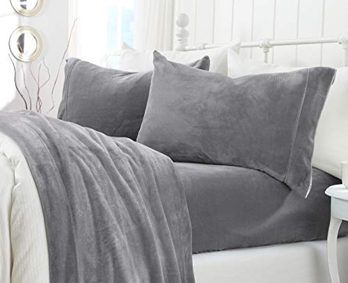 Extra Soft Cozy Velvet Plush Sheet Set. Deluxe Bed Sheets with Deep Pockets. Velvet Luxe Collection (Twin, Grey) (Fleece Fitted Sheet Twin)