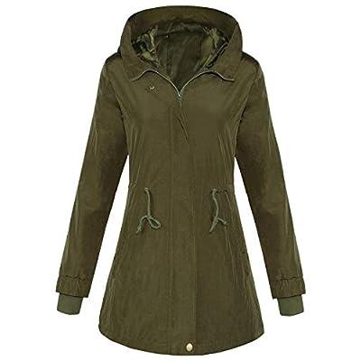 4How Women's Military Anorak Rain Jacket Lightweight Hooded Water Resistant Coat: Clothing