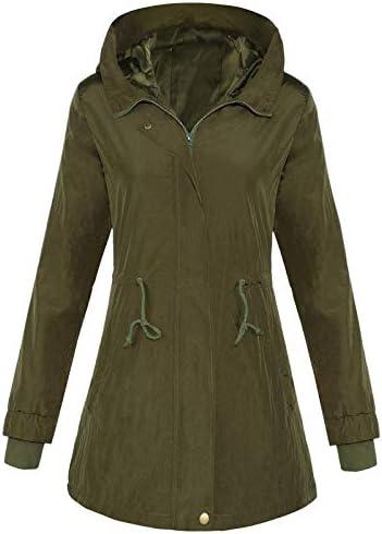4HOW Women's Military Anorak Rain Jacket Lightweight Hooded Water Resistant Coat