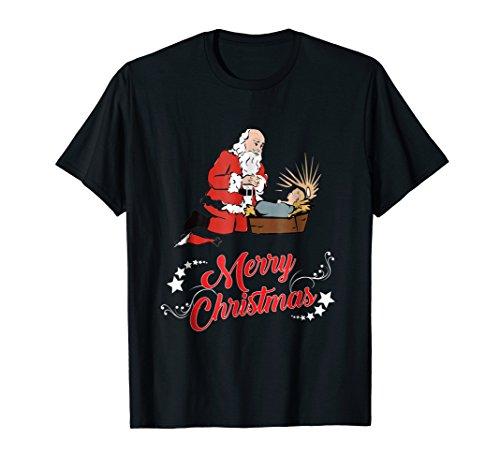 Santa Kneeling And Praying At The Feet Of Jesus T-Shirt