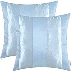 CaliTime Pack of 2 Cushion Covers Throw Pillow Cases Shells Couch Sofa Home Decoration Modern Shining & Dull Contrast Striped 20 X 20 Inches Light Blue