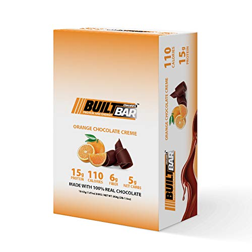 Built Bar 18 Pack Energy and Protein Bars – 100% Real Chocolate – High in Whey Protein and Fiber – Gluten Free, Natural Flavoring, No Preservatives (Orange)