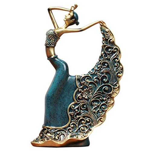 - K-Flame Dancing Girl Statue Ornaments Resin Sculpture Desk Decoration for Home Accessories Living Room Office Study Art Furnishings Soft Crafts Porch Bookcase Gift