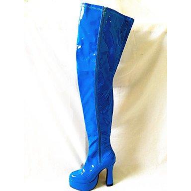 RTRY Zapatos De Mujer Moda Otoño Invierno Pu Botas Botas Chunky Talón Puntera Redonda Sobre La Rodilla Botas Para Parte &Amp; Noche Rosa Azul Negro Blanco US11.5 / EU43 / UK9.5 / CN45