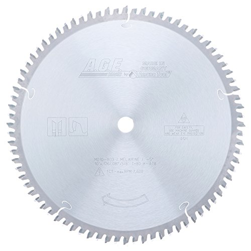 Amana Melamine Blade (A.G.E. Series by Amana Tool MD10-803 Double Sided Melamine 10-Inch Diameter by 80-Teeth by 5/8-Inch Bore, H-ATB Grind Carbide Tipped Saw Blade)
