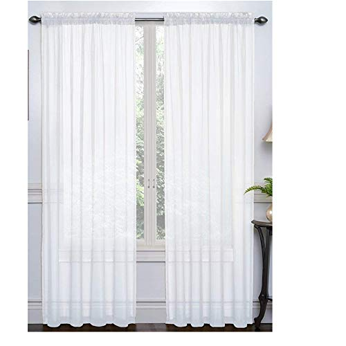 Rumfo 2 Piece Set Semi-Sheer Curtains Beautiful Elegance Tulle Curtain Panel Drapes Treatment Decoration for Living Dining Kids Room Bedroom Kitchen Window 108