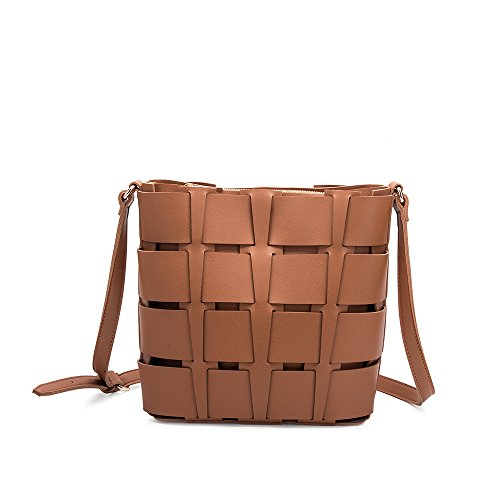 Melie Bianco Stylish Crossbody Strap Shoulder Bags For Women - Basket Design - Luxury Vegan Leather (Saddle) (Melie Bianco Top Handle)