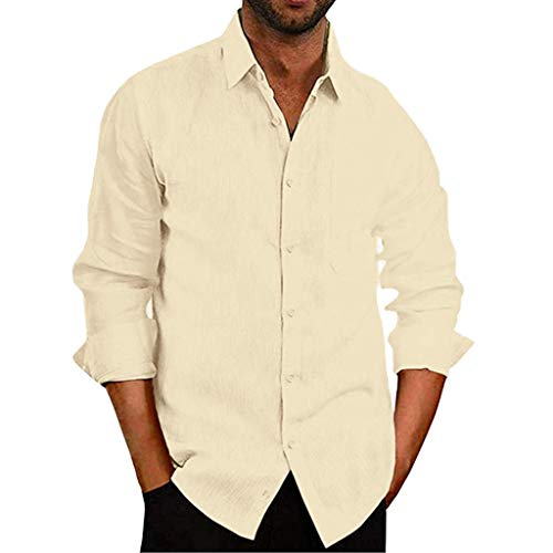 Baiggooswt Men's Shirt Men's V Neck Long Sleeve Cotton Blend Pocket Solid Color Office Work T Shirts Business Blouse Yellow