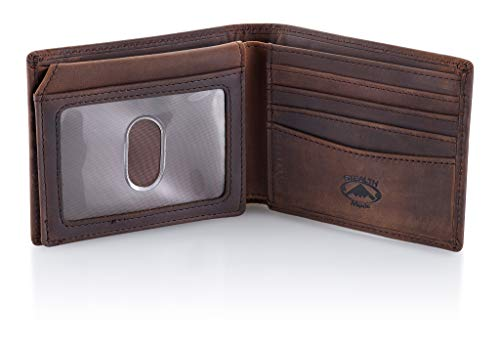 Stealth Mode Brown Leather Bifold Wallet for Men With ID Window and RFID Blocking, One Size - Wallet Genuine Usa
