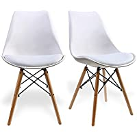 Dining Chair by Santang Eames Style Soft Padded Seat Modern Accent Wooden Dining Chairs with Solid Natural Beech Wood Leg for Dining Room Chair set of 2(white)