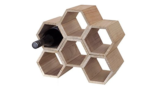 Aupa 6 Bottle Wooden Honeycomb Wine Rack - Free Standing Stackable Design for Kitchen or Countertop. by Hive Originals