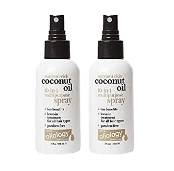 Oliology Coconut Oil 10-in-1 Multipurpose Spray, Leave In Treatment for All Hair Types, 4 Oz 2 Pack