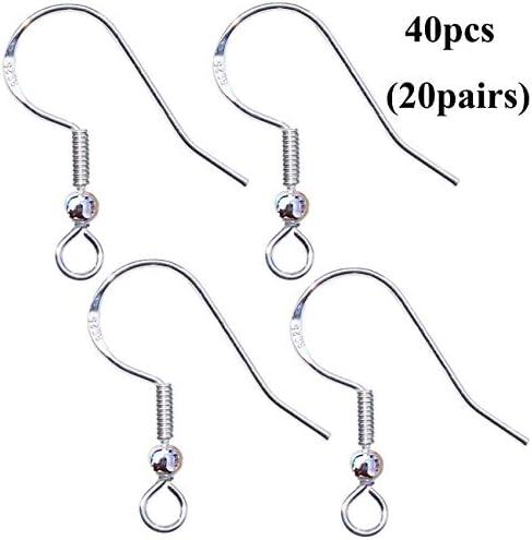 Sterling Silver Earring hook Earring components sterling silver flower long fancy earring hooks 40mm light weight matching pair