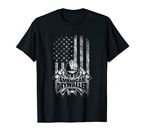 Drywaller T-Shirt American Flag with Skull and Hammers
