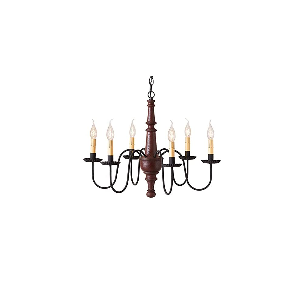 Irvin's Country Tinware 9156TPLR - Harrison Chandelier in Plantation Red Color