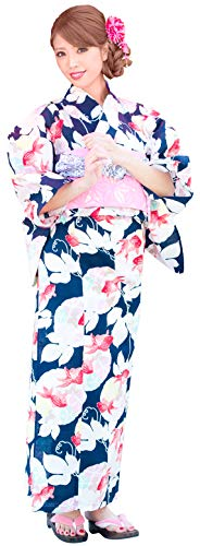 Kimura Jitsugyo Women's Kyoto Traditional Easy Wearing Kawaii Yukata Robe(Japanese Casual Kimono) Full Set 4 Navy & Goldfish 24 Woman