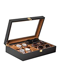 Baskiss 6 Slots Watch Box and 3 Slots Eyewear Sunglass Storage Box, Solid Wood Watch Display Storage Case Jewelry Organizer with Clear Top