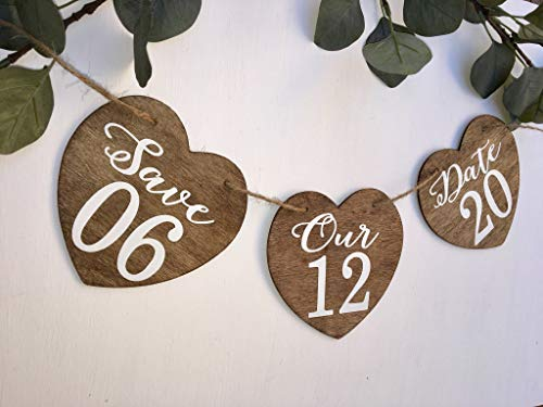 Olga212Patrick Save Our Date Banner Save The Date Sign Wedding Garland Photography Prop Engagement Photo Sign Save The Date Banner Heart Banner Engagement ()