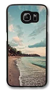 Beach footprints Polycarbonate Hard Case Cover for Samsung Galaxy S6 Black