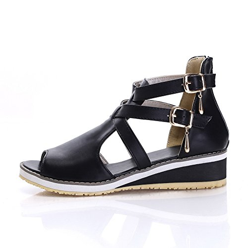 AllhqFashion Women's Peep Toe Low Heels Soft Material Solid Zipper Sandals Black Sb5geb