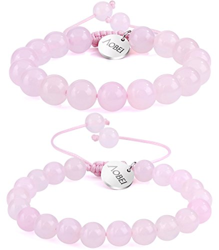 (2PCS Rose Quartz Gemstone Beaded Couple Bracelet 8MM/10MM Round Beads Healing Reiki Macrame Adjustable Jewelry for Men Women by Aobei)