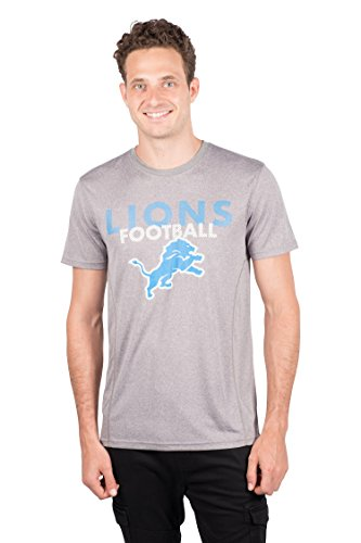 NFL Detroit Lions Men's T-Shirt Athletic Quick Dry Active Tee Shirt, Large, Gray