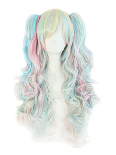 Meditative Rose Lolita Ponytails Long Curly Cosplay/Party/Costume/Carnival/Halloween/April Fool's Day/Masquerade Wig (pink + blue+ gold)