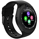 Faawn Smart Watch with Bluetooth SIM Card Slot Camera Pedometer Touch Screen Music Player Smart Watches for Mens Boys and Girls (smartwatch) - Black