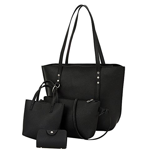 Hot Sale! Clearance! Women Bag,Todaies 4Pcs Women Pattern Leather Shoulder Bag+Crossbody Bag+Handbag+Wallet (4 Pc, Black)