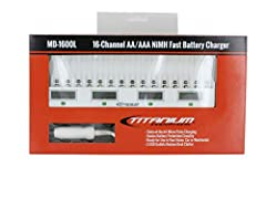 Titanium MD-1600L Ni-MH AA/AAA Smart Fast Battery Charger:The Titanium MD-1600L is the ultimate battery charging station. Now you can charge sixteen Ni-MH AA or AAA batteries at the same time! This elegant charger has a clean design and thoug...