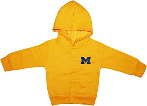 University of Michigan Wolverines Block M Snap Hooded Jacket Gold