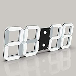 CHKOSDA 3D Digital Wall Clock, 6 LED Numbers Countdown Clock, Remote Control, Ultra-Thin Design, Large Calendar, Auto Dimmer/ 8-Level Adjustable Brightness Office Clock(Black Shell, White)