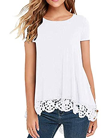 780191d0ebdfea QIXING Women's Tops Short Sleeve Lace Trim O-Neck A-Line Tunic Blouse
