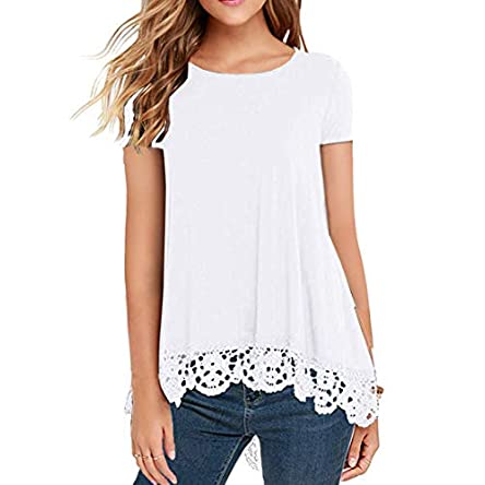 QIXING Women's Tops Short Sleeve/Long Sleeve Lace Trim O-Neck A Line Tunic Blouse
